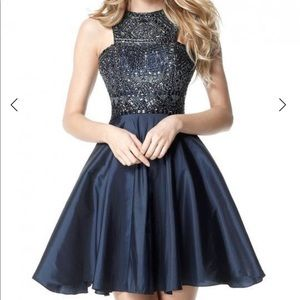 NEW Sherri Hill Short Beaded Halter Dress